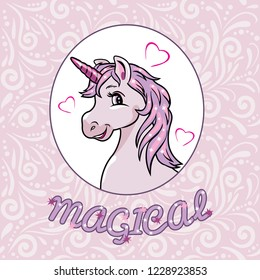 Portrait of a happy pink unicorn for scrapbook design. Vector