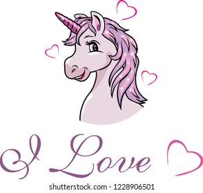 Portrait of a happy pink unicorn. Vector