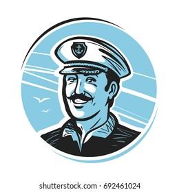 Portrait of happy smiling captain. Sailor, seafarer, seaman logo or label. Vector illustration
