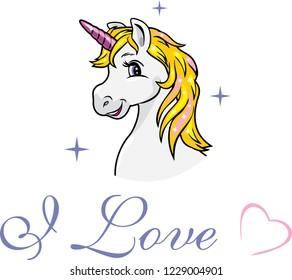 Portrait of a happy white unicorn. Vector