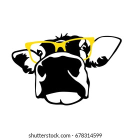 Portrait of head of cow, sign vector symbols, icon in black and yellow color
