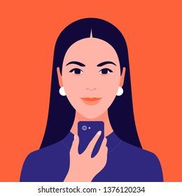 Portrait of a Hispanic girl. Avatar brunette. Diversity. Vector flat illustration