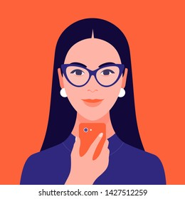 Portrait of an Hispanic girl holding a mobile phone in her hand. Avatar female student with glasses. Addiction on the Internet and social networks. Vector flat Illustration