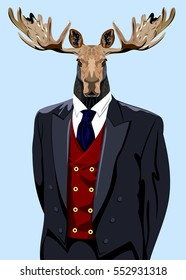 Portrait of a horned elk in the men's business suit and hat