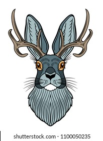 Portrait of a horned rabbit in a vintage style