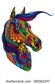 Portrait of horse in different patterns. Curls and colors.