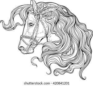 Portrait of a horse with long decorated mane. Coloring page.