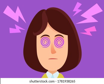 Portrait of a hypnotized woman, bewitched girl. Woman with spirals in his eyes, blank stare - hypnosis, magic. Lightning under the head. Vector illustration, flat design, cartoon style, isolated.