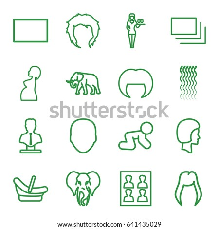 Portrait Icons Set Of 16 Outline Such As Elephant Baby Basket