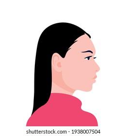 Portrait illustration of woman.Social Media Avatar. Vector Flat Illustration