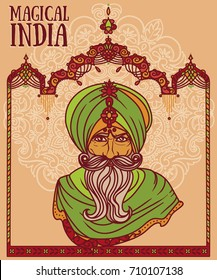 portrait of indian gray haired man in turban and traditional indian arch, vector illustration