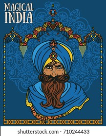portrait of indian man in turban and traditional indian arch, vector illustration