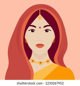 Portrait of an Indian woman in a sari. Female face. The head of the girl under the veil. Vector flat illustration