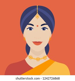 Portrait of Indian woman in a sari. Female face. Girl's head. Avatar. Vector flat illustration