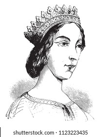 The Portrait of Jeanne de Laval, second wife of King Rene, drawing in the pen of the fifteenth century, vintage engraved illustration. Magasin Pittoresque 1844.