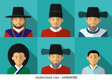 Portrait of Korean people in Traditional costume
