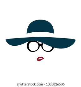 Portrait of lady in graceful hat and glasses bites her lip. Vector illustration.