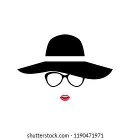 Portrait of Lady in stylish hat and glasses. Women icon isolated on white background. Vector illustration.