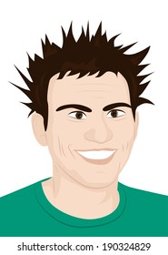 portrait of a laughing crazy guy with ruffled hair