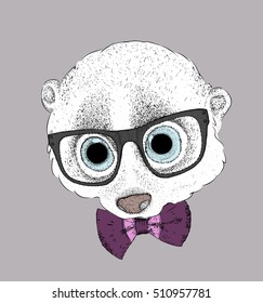 portrait of a lemur in a glasses and with tie. vector illustration