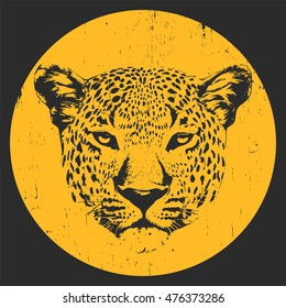 Portrait of Leopard. Hand-drawn illustration. T-shirt design. Vector