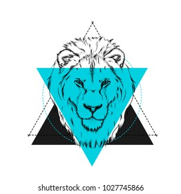 Portrait of a lion. Can be used for printing on T-shirts, flyers and stuff. Vector illustration