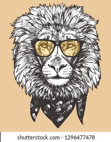 c9aeaf9cdcf Portrait of Lion with glasses and scarf. Hand-drawn illustration. Vector