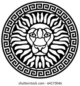 Portrait of a lion, and meanders. Antique relief. Vector illustration.