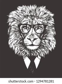 Portrait of Lion in suit. Hand-drawn illustration. Vector
