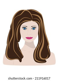 Portrait of a lovely woman. Vector illustration.