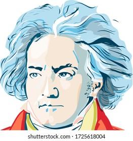 portrait of Ludwig van Beethoven colored vector illustration