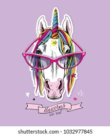 Portrait of a magical unicorn with a starry mane, horn in a bright coloring glasses on a light violet background. Vector illustration.