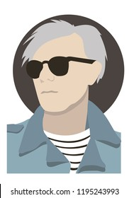 Portrait of a male artist wearing Andy Warhol glasses vector