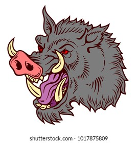 Portrait of a malicious boar in the old school style