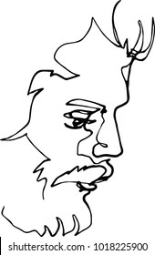 Portrait of a man with a beard, continuous line drawing, black, profile minimalist concept