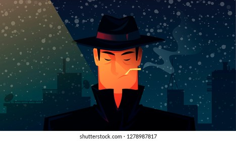 Portrait of a man in a black coat and hat. Detective. He smokes. Vector cartoon illustration. Character design