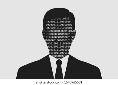 Portrait of man in business suit, binary code is instead of his face. Concept of digital storage of personal data, personal information, anonymity and data security in digital format