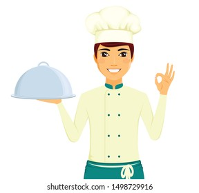 Portrait of a man cook with a tray in his hand. A man with a gesture of approval. Professional chef. Food preparation. Service personnel. Flat style on white background. Cartoon