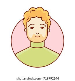 Portrait of a man. Face. The head of the red-haired guy. Avatar for the profile. Linear vector illustration