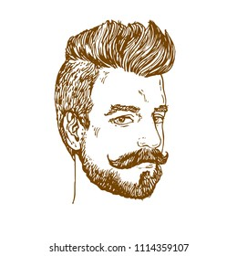 Portrait of Man with moustaches and beard and haircut hand drawn line art ink sketch stock vector illustration