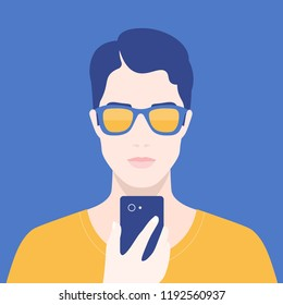 Portrait of a man with a phone. Addiction on the smartphone and the Internet. Social networks. Vector Flat Illustration