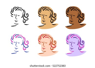 Portrait of man in various colours