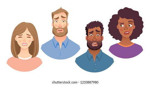 Portrait of man and woman. Emotions of woman face. Facial expression men vector illustration