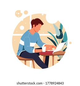 portrait of man working from home, flat design concept illustration