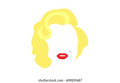 portrait of Marilyn Monroe, Vector illustration, portrait of modern American woman