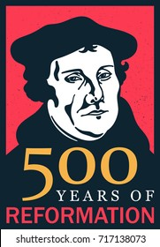 Portrait of Martin Luther (1483-1546) 500 years of reformation, vector Illustration