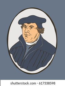 Portrait of Martin Luther, the key person in Protestant Reformation / Anniversary 500th year Protestant Reformation. Vector Illustration.