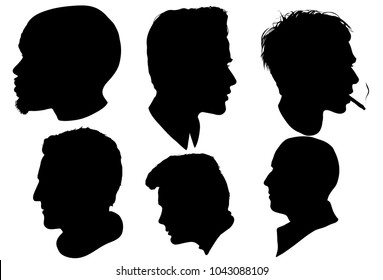 Portrait of men, a men in profile, isolated outline silhouette - vector illustrations set.