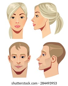 portrait of men and women in straight and profile