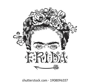 Portrait of Mexican artist Frida Kahlo de Rivera (Frida Kahlo). A black-and-white linear image of a woman's face with flowers in her hair. Beautiful text.